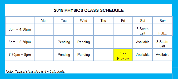 O Level Physics Tuition Schedule